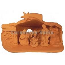 Presepe grotta con ruota carro cm 13H + sacra famiglia (5 pz)