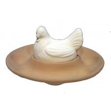 Ovarola ovale con gallina bianca