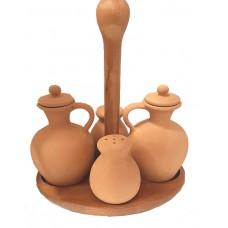 OASP Olio aceto sale pepe bombati con cestello in legno COMPLETO