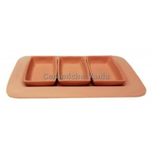 A127 - Rectangular appetizer tray with 3 trays / 33x19.cm