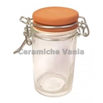 B175 - Glass jar with biscuit lid - 70 gr - cm 8.5x4.5x4.5