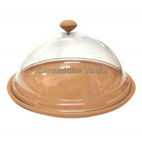 T084 - Cake plate with plexiglass bell 33cm