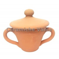 Z026 - Sugar bowl with 2 lathe handles